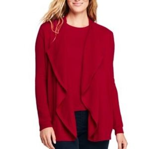 Lands' End Red Cashmere Waterfall Cardigan NWOT